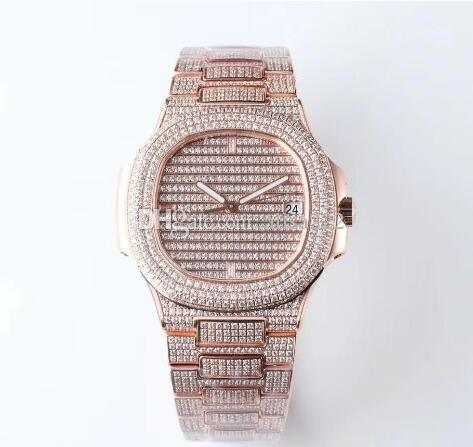 Luxury Nautilus Watch For Men Factory Top Quality Mechanical Automatic Watches Mens 40mm Full Diamond Sport 5719 Wristwatches