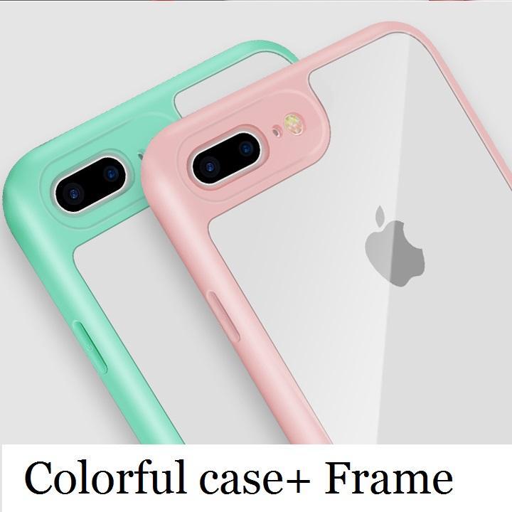 Neuer Acryl-PC hohe freie transparente Handy-Fallabdeckung für iphone Xs max xr x 6s 7 8 und weichen bunten Rahmen Stoßstange schlank stoßfest