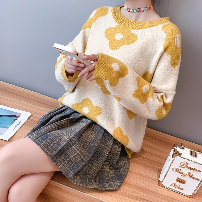 2020 Blumenmuster und Pullover O-Ansatz lange Hülsen-Frauen Herbst Pullover Pullover Tricot Pull Femme