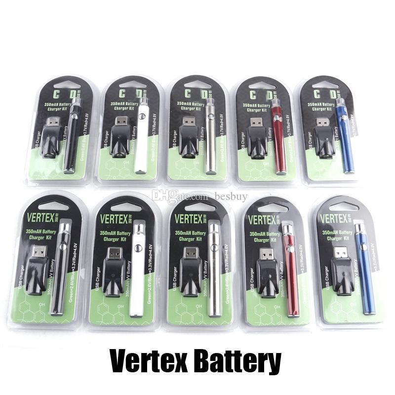 Dernier préchauffage Batterie Blister 350MAH Vertex Préchauffage Voltage Valtion VV VV Chargeur de batterie Vap Kit de stylo pour 510 Thread CE3 Cartouche