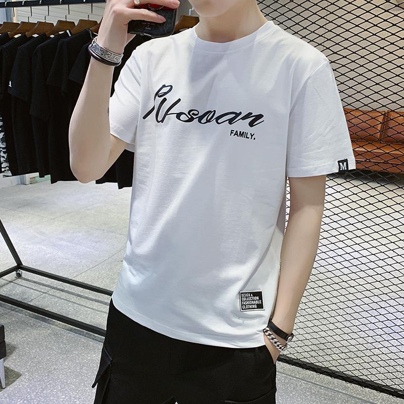 Manica corta T-shirt 2019 di nuovo stile casuale di estate scritto a stile coreano T-shirt tendenza vestiti da uomo versatile gioco