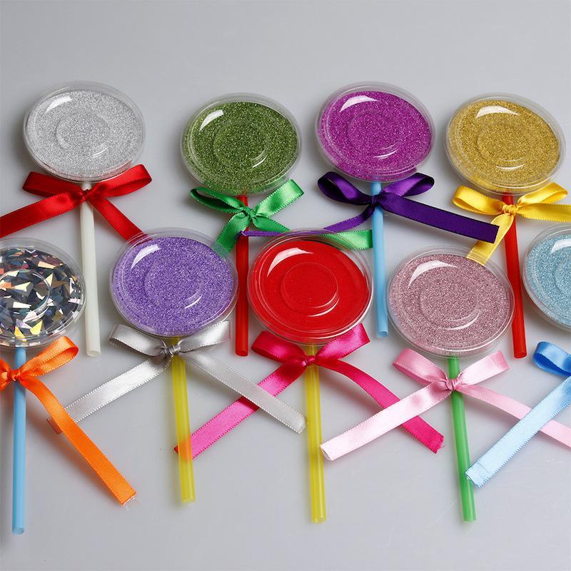 3D Caixa De Cílios De Pestanas Lollipop Cílios Pacote Caso Cílios Falsos Cílios Vison Caixa De Armazenamento Criativo Rodada Lash Caixas de Maquiagem Ferramenta 50 conjuntos