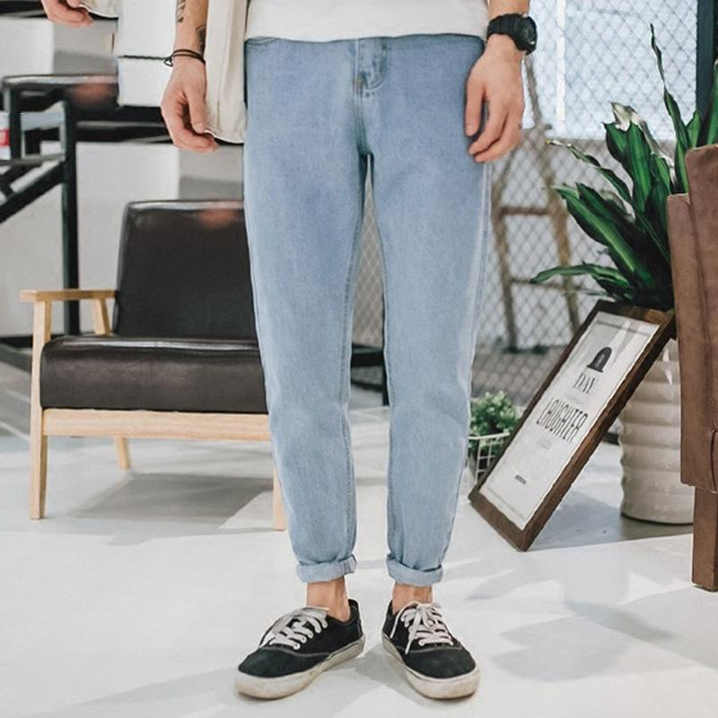 Moda 2019 Primavera Outono Calça Jeans Cor Literária de Lavagem Soltos Calças Jeans Harem Denim Cowboy Tornozelo Calça Jeans Masculinos Jovens Y19072301