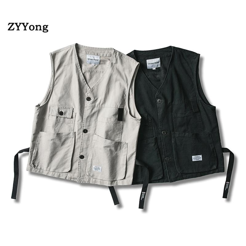 Fishing Vest Men Summer Cotton Traveler Sleeveless Jackets Waistcoat Outdoors Casual Vest With Many Pockets