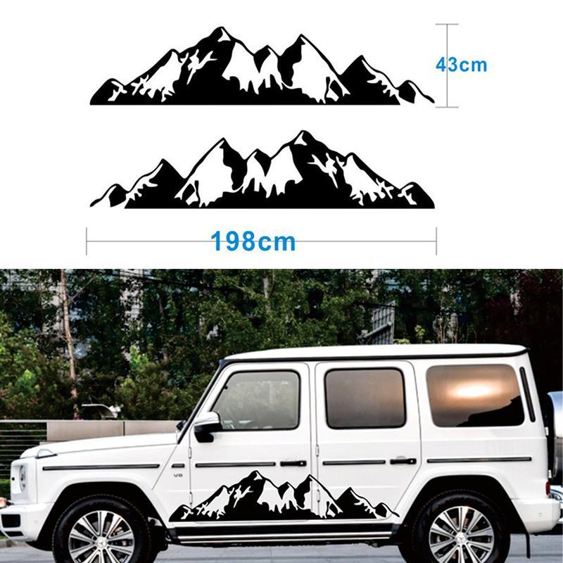 2x черный снег горы наклейка Виниловая наклейка для внедорожных Кемпер Ван Автодом