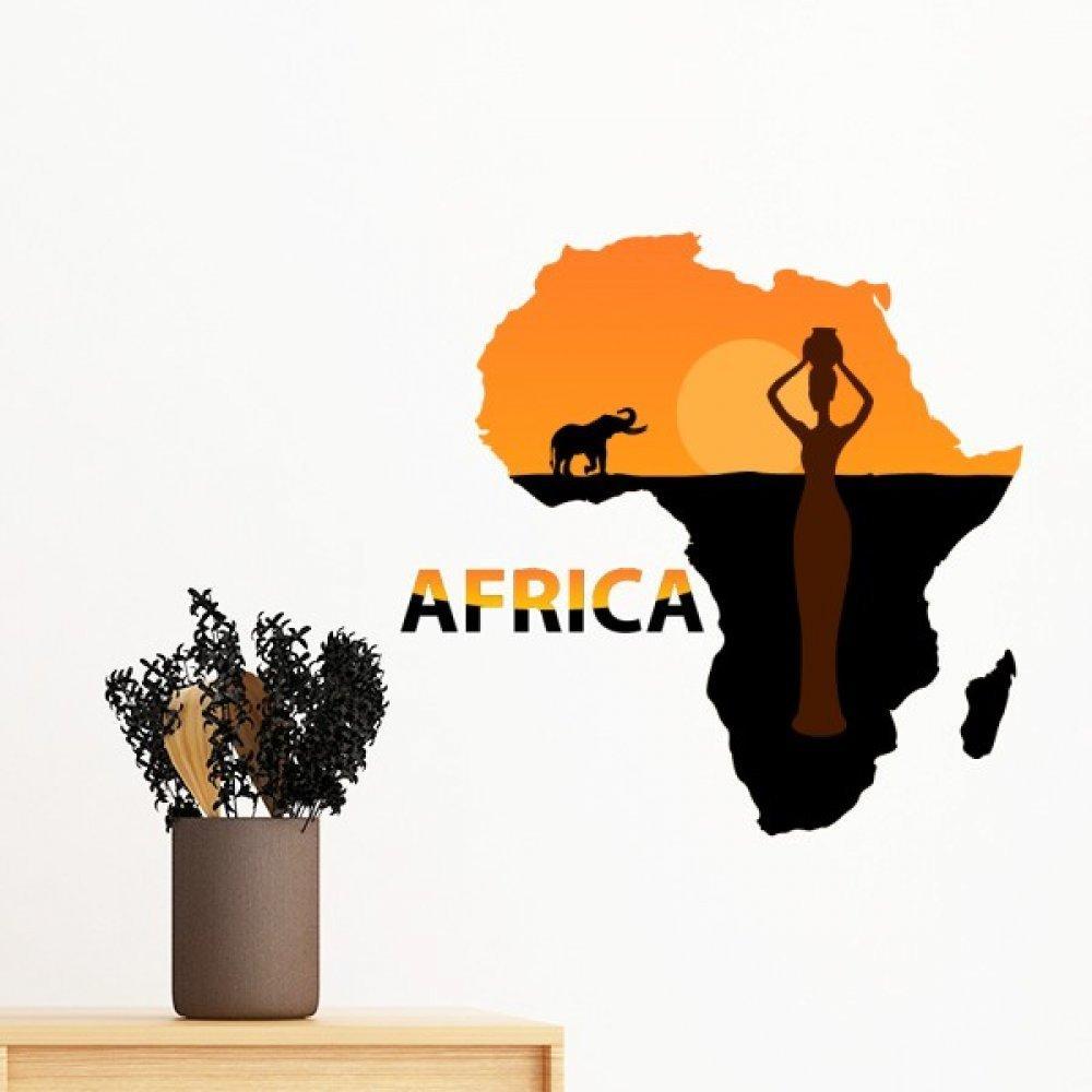 Afrika Harita Savanna Fil Yaban Hayatı Siyah Kadınlar için Çıkarılabilir Duvar Sticker Sanat Çıkartmaları Mural DIY Duvar Kağıdı Odası Çıkartması