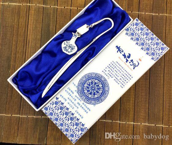Porcelaine bleue et blanche traditionnelle artisanat Signet populaire chinois cadeau national signet créatif classique, professeur cadeau, cadeau camarade de classe