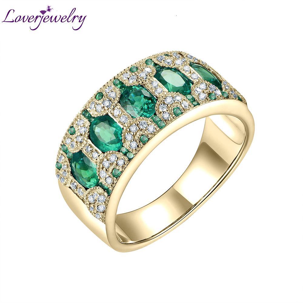 Anéis para bandas Mulheres ouro amarelo 18K Natural 1.5Ct Emerald Rubi Safira Diamantes Genuine Festa de aniversário do anel de presente da jóia CJ191205