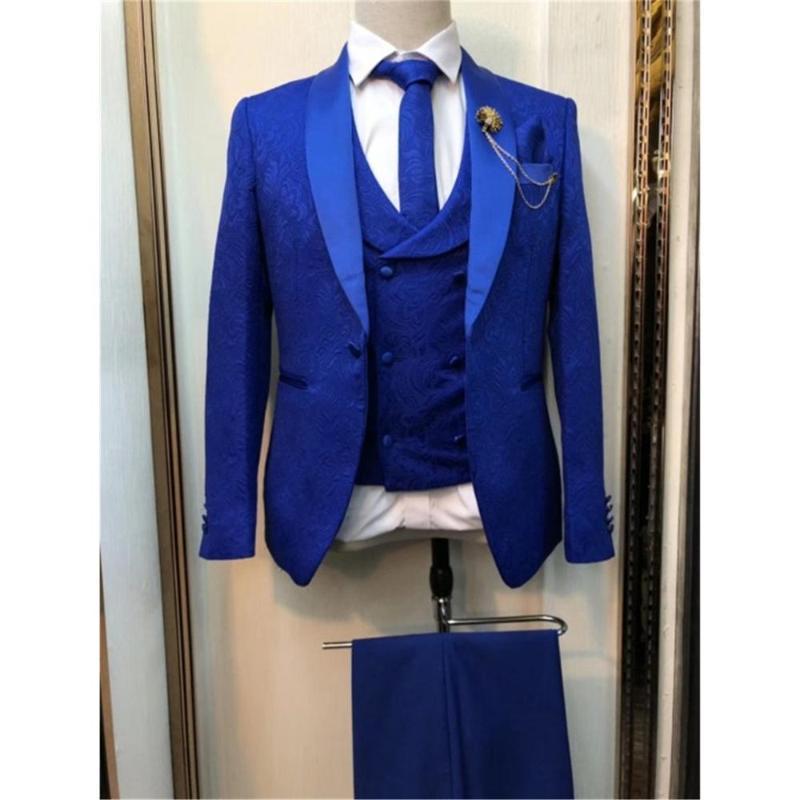 Bräutigam-Smoking-Klagen Schal Revers Bester Mann-Qualität Royal Blue Men Anzüge Hochzeit 3 Stück (Jacket + Pants + Vest + Tie) E92