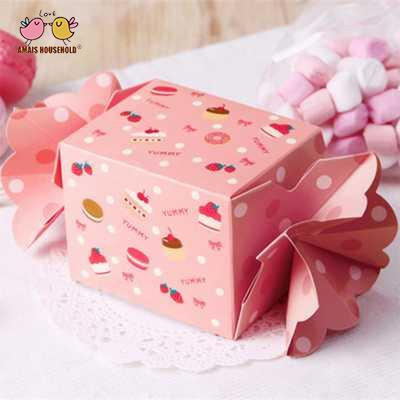 50pcs/lot Create Pink Candy Shape Candy Gift Box For Birthday Baby Shower Return Gift Packaging 7.5*7.5*6cm