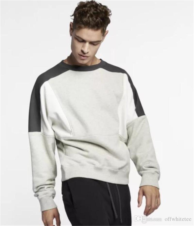 Sonbahar Patchwork Renkler Erkek Kapüşonlular O Yaka Uzun Kollu Gevşek Çiftler Tişörtü Moda Tasarımcısı Erkek Giyim