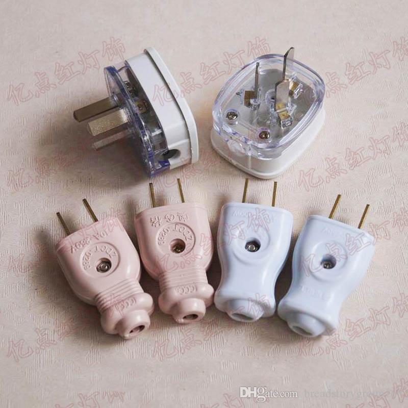 220V Multifunctional Power Plug White Pink Flat Plug with Copper Pins 2 Pin Plugs 3 Pin Plug