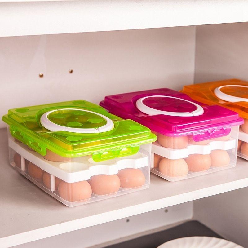 Küche Ei Aufbewahrungsbox 24 Grid Ei Box Lebensmittelbehälter Organizer Boxen Für Lagerung Doppelschicht Multifunktionale Ei Crisper Q190525