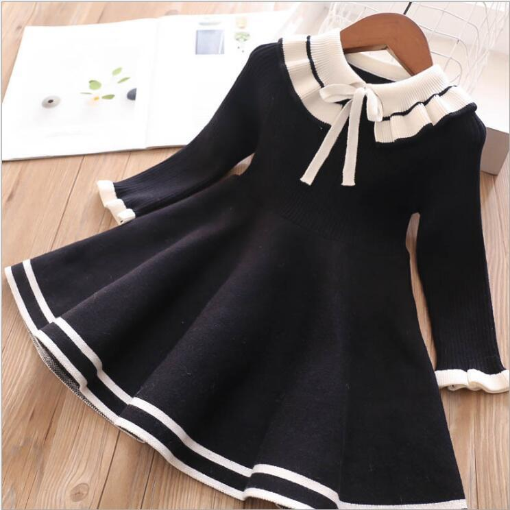 Baby Sweater Dress 2019 Autumn Winter Girls Knitting Wool Dresses Black Pink Bow Girls Princess Dresses Cute Kids Costume CY200514