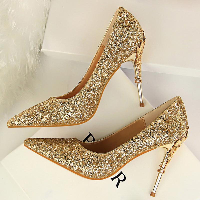 2020 женщины 9,5 см шпильки высокие каблуки фетиш насосы Леди блеск острым носом каблуки Bling роскошные сексуальные партии Скарпины серебряные туфли