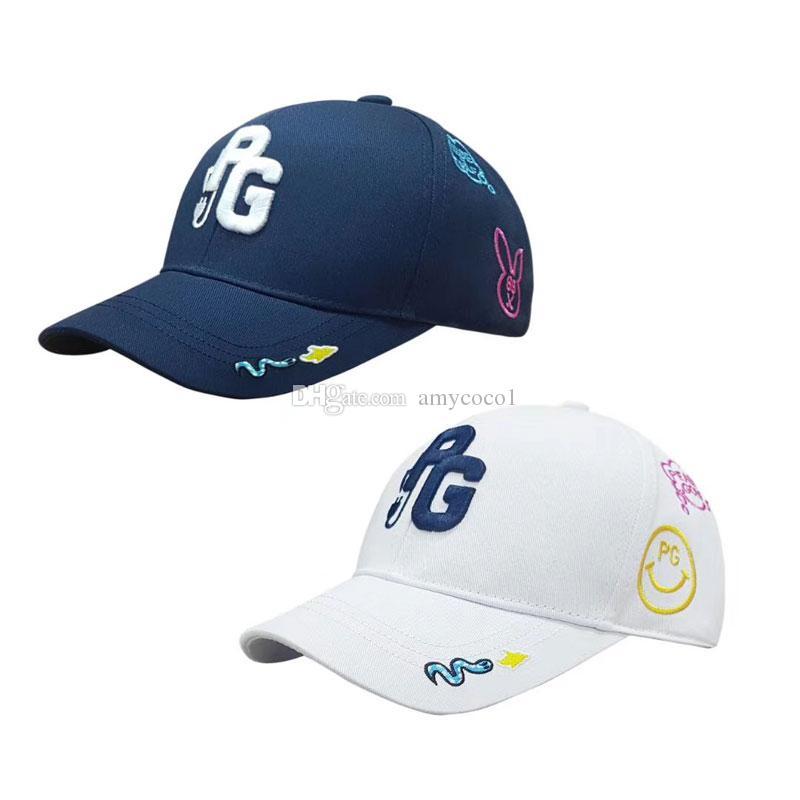 جديد للجنسين PG غولف قبعة سوداء وبيضاء اللون قبعة بيسبول مطرزة الرياضية عالية الجودة شمس الصيف القبعات الشحن مجانا