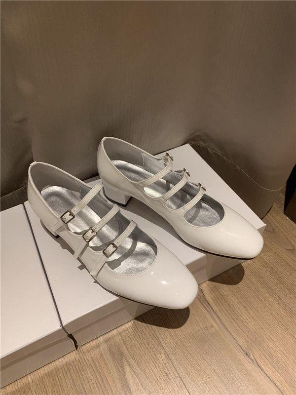 Ретро стиль моды девушка Мэри Джейн обувь лакированная кожа коренастый пятки ботинок платья квадратный носок узкие пряжки ленты сандалии одиночные ботинки