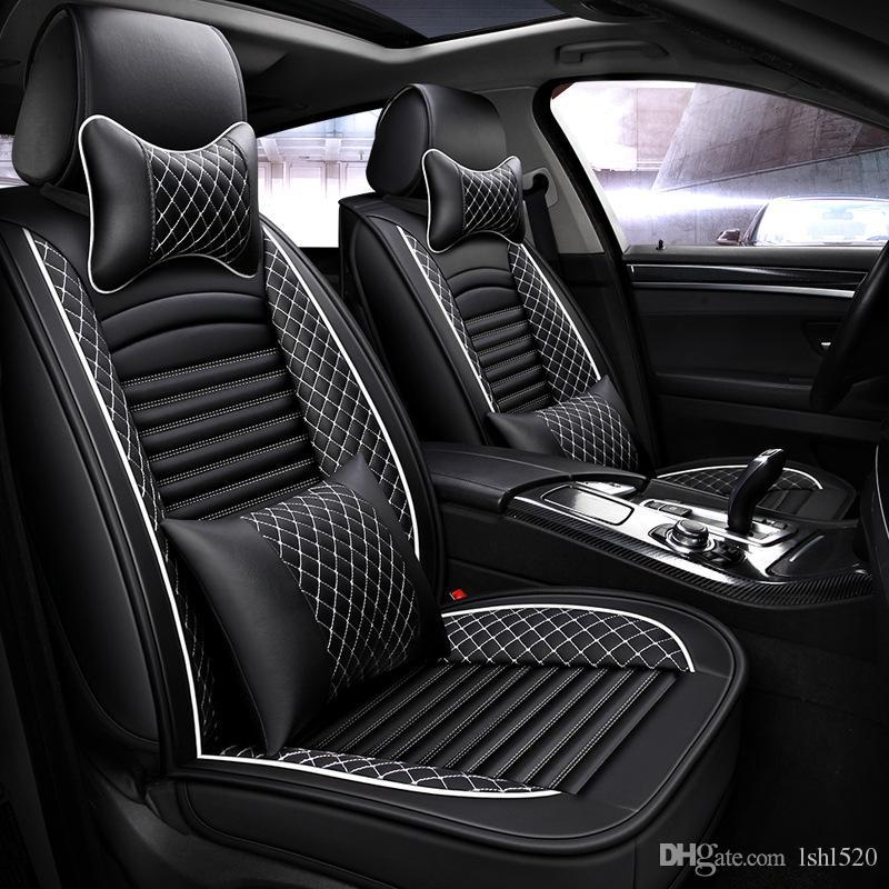 PU Leather Front Car Seat Cover Cushion Black with White Lattice for 5-seat Car