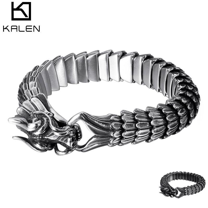 Retro Animal Dragon Head Charm Bracelet Men Stainless Steel Black Matte China Dragon Blessing Bracelet Bangle Jewelry