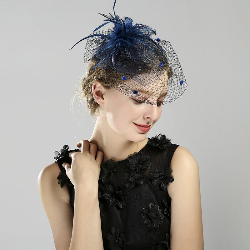 Сетки шляпа с пером банкетный формальные аксессуары сетка вуаль шляпа перо корсаж банкет вечернее платье аксессуары головной убор