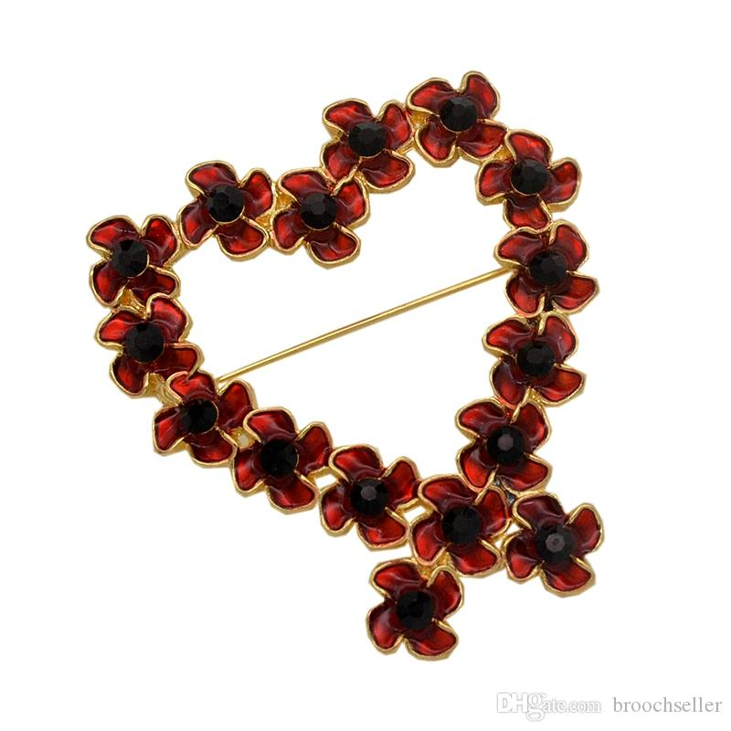 Red Enamel Heart Or Ribbon Shaped Poppy Flowers Brooch UK Remembrance Gifts