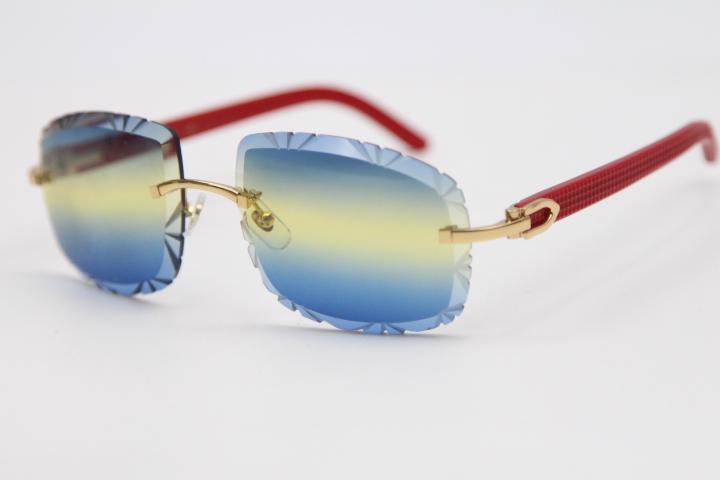 2020 neue Art-Geschnitzte Objektiv 8200762A Randlos Rot Plank Sonnenbrille Unisex Optische Plank Frauen Brille Größe: 62-20-135mm