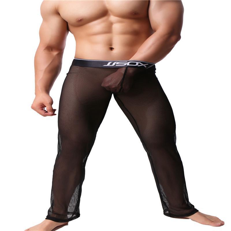 Compre Pantalones Transparentes De La Moda Sexy De Los Hombres Pantalones De Pijama A Rayas De Los Hombres Pantalones De Dormir De Longitud Completa De Los Hombres A 28 46 Del Worsted