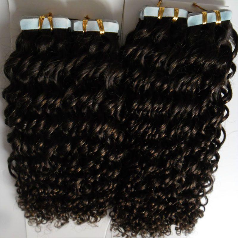인간의 머리카락 확장에 테이프 100g 아프리카 곱슬 머리 곱슬 머리 원활한 100 % 레미 인간의 머리카락 연장