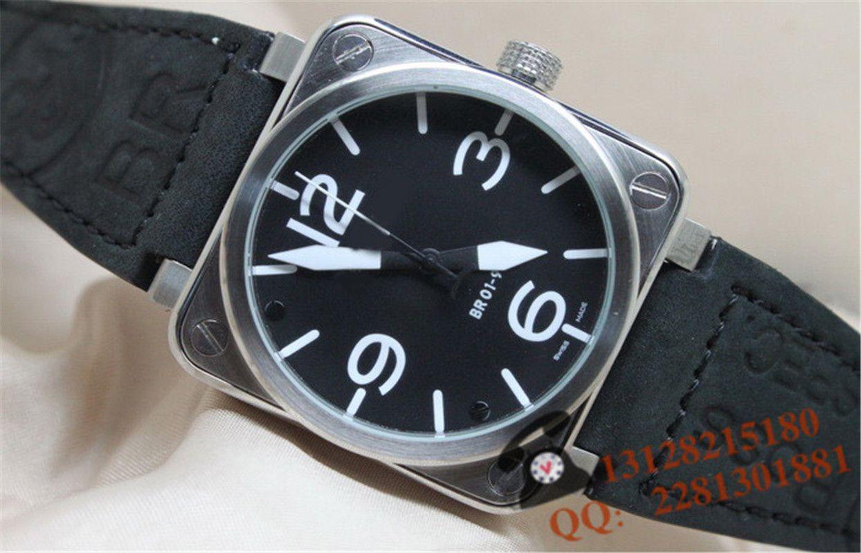 Aço inoxidável Mens Fashion sino do relógio para fora congelado Relógios Bling ross automática máquinas de pulso br08