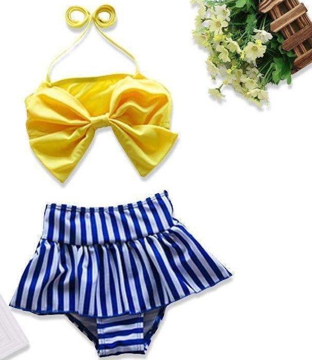 2020 الجديدة الوليد الاطفال الرضع بنات القوس التعادل بيكيني مخطط الكشكشة ملابس السباحة ثوب السباحة ملابس السباحة الرسن لينة