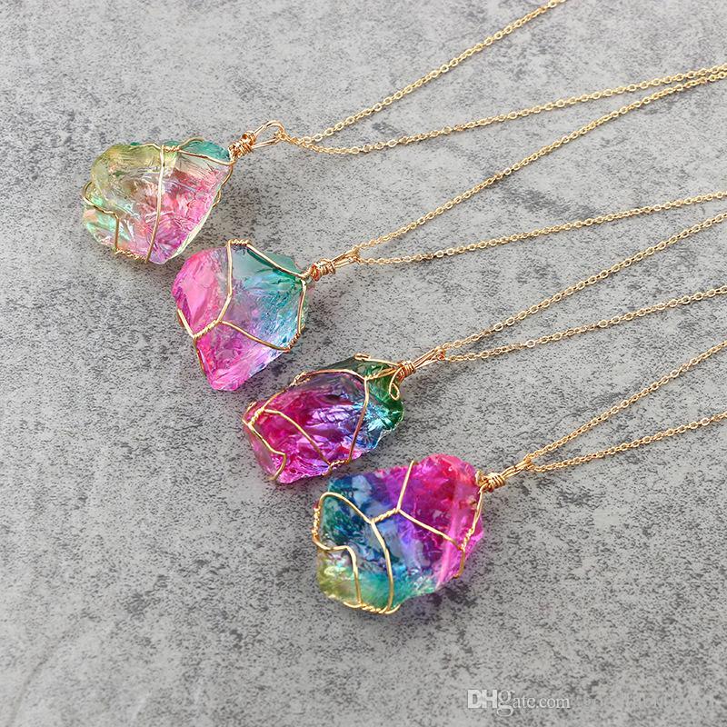 2019 nouveau cristal naturel collier de quartz de guérison pendentif pierre naturelle collier Couples collier pour cadeau