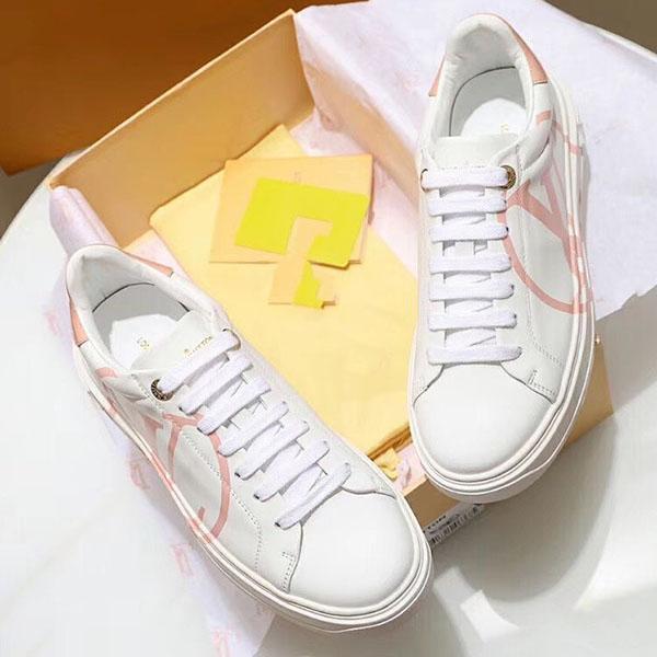 Louis Vuitton zapatos casuales de encaje nuevos hombres y mujeres de cuero de corte bajo 2020f otoño, zapatos deportivos par salvaje de la moda de alta calidad, tamaño: 35-45 t3