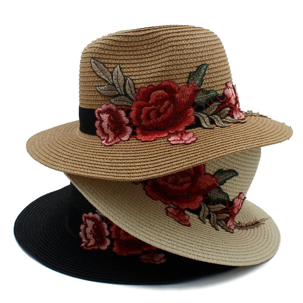 Fashion Women Summer Wide Brim Straw Embroidery Panama Sun Hat For Elegant Lady Chapeu Feminino Fedora Queen Beach Sunhat