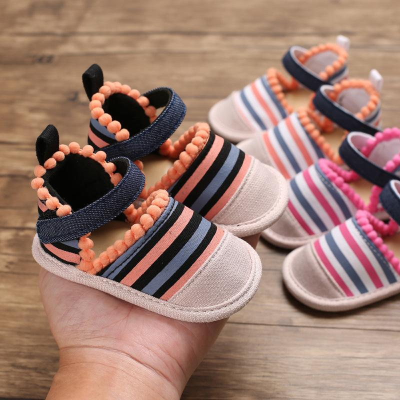 Summer Baby Girl Soft Crib Shoes folk-custom Princess cotton fabric First Walker Colorful Striped Thong Sandals M200517