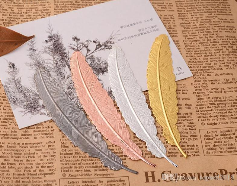 7 Colors Metal Feather Bookmark Document Book Mark Label Golden Silver Rose Gold Bookmark Office School Supplies SN2796