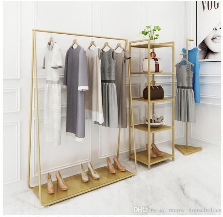 Golden Color Color Ropa Remontes Muebles de dormitorio Abrigo de aterrizaje Percha en tiendas de tela Hierro Sombrero Marco Estante Multifuncional Zapato Estante