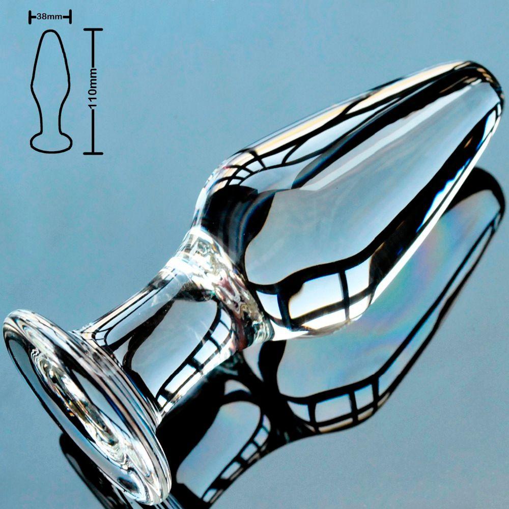 38mm pyrex vidrio butt plug anal consolador bolas de cristal falso pene masculino dick masturbación femenina juguete adulto del sexo para mujeres hombres gay C18112701