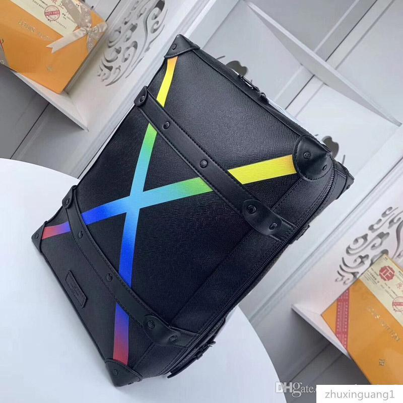 30337 New bag large-capacity leather and canvas fashion printing Rainbow backpack model: M