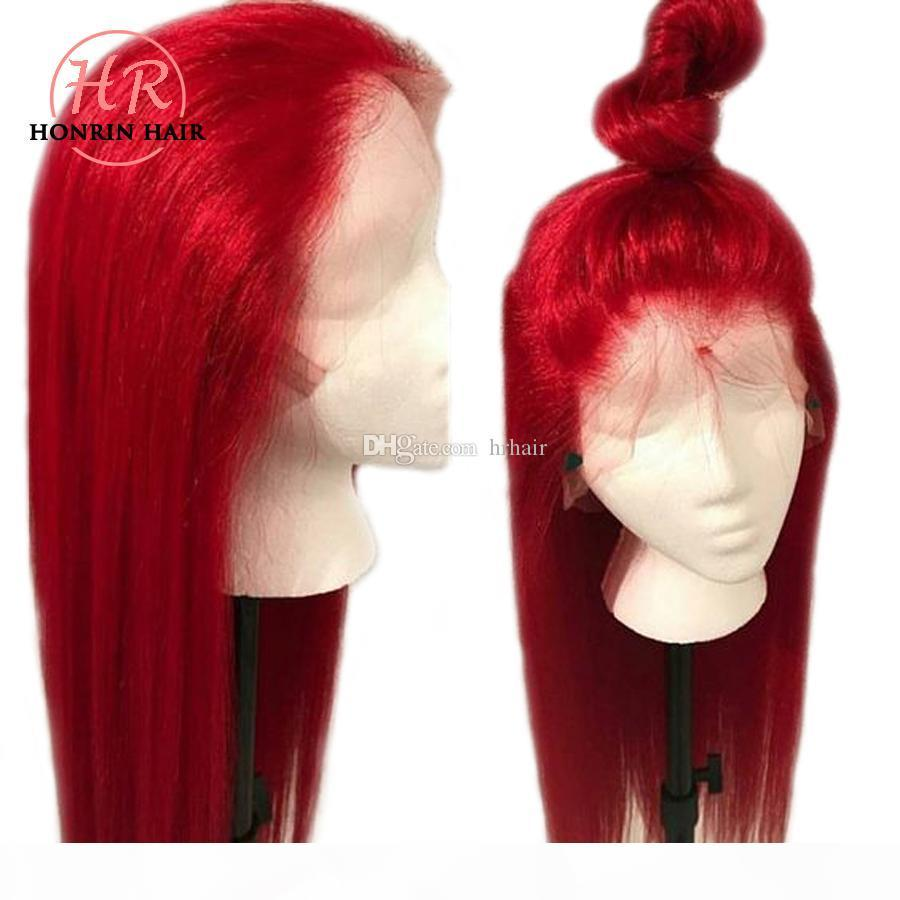 Honrin Hair Color Red Lace Front Wig Silky Straight Brazilian Virgin Human Hair Full Lace Wig 150% Density Pre Plucked With Baby Hair