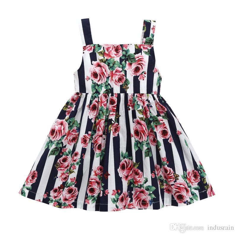 vestiti estivi della neonata Nuovo vestito da principessa a fiore spezzato di rose senza maniche e abito da imbracatura