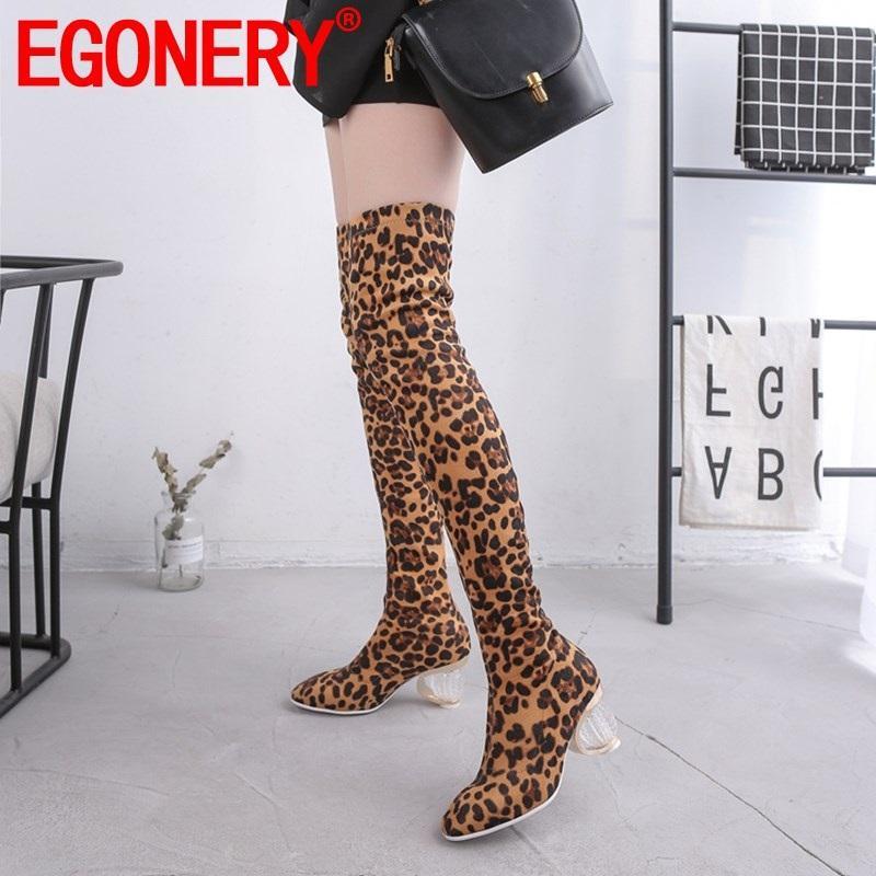 EGONERY mulher sapatos outono inverno nova moda leopardo dedo do pé quadrado sobre o joelho botas fora quente sapatos de salto alto plus size senhoras sapatos