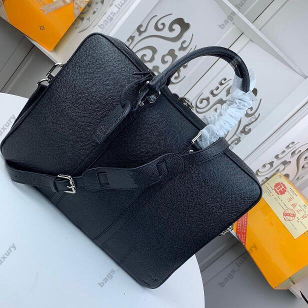 Homens de Negócios Briefcase Bag Top Quality Leather Laptop Bag Escritório grande capacidade Pasta Masculino Bolsas de ombro espaçoso Design de Interiores
