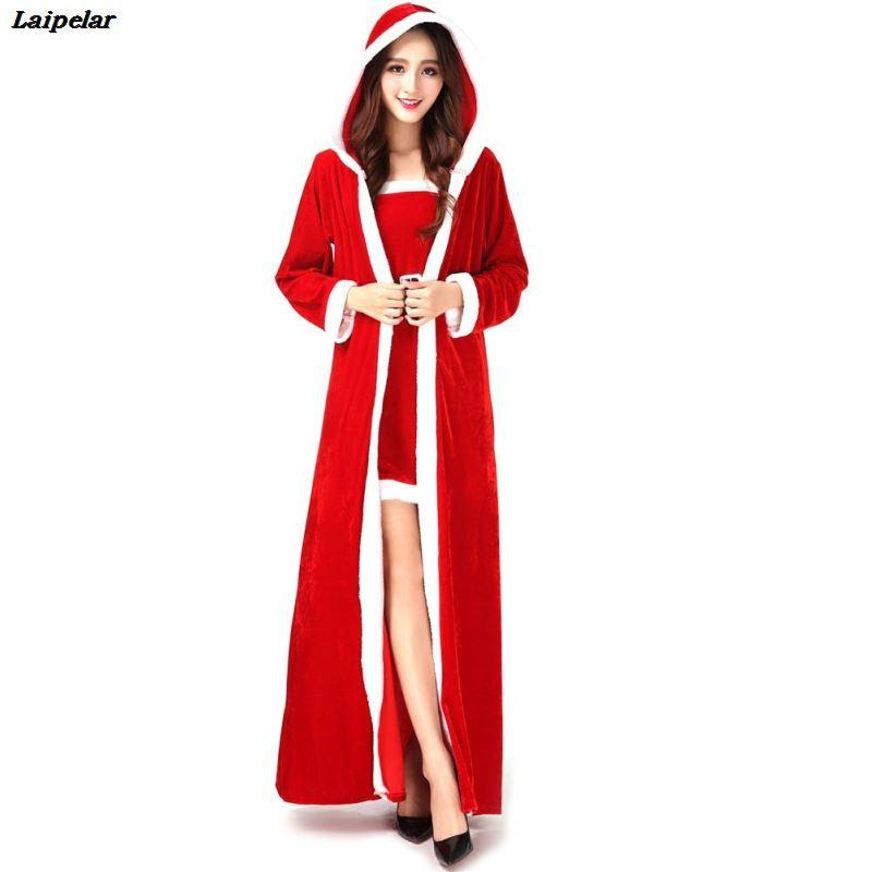 Transporte da gota 3 Pcs Deluxe Mulheres Natal Vestido Longo Feminino Sexy Red Santa Claus Cosplay Traje Feminino Adultos Xmas Uniforme