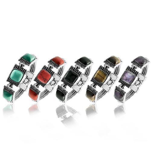 Großhandel 5 Stücke Beliebte Silber Überzogene Stapelbare Quadratische Form Amethyst Kristall Armband Grün Türkis Modeschmuck