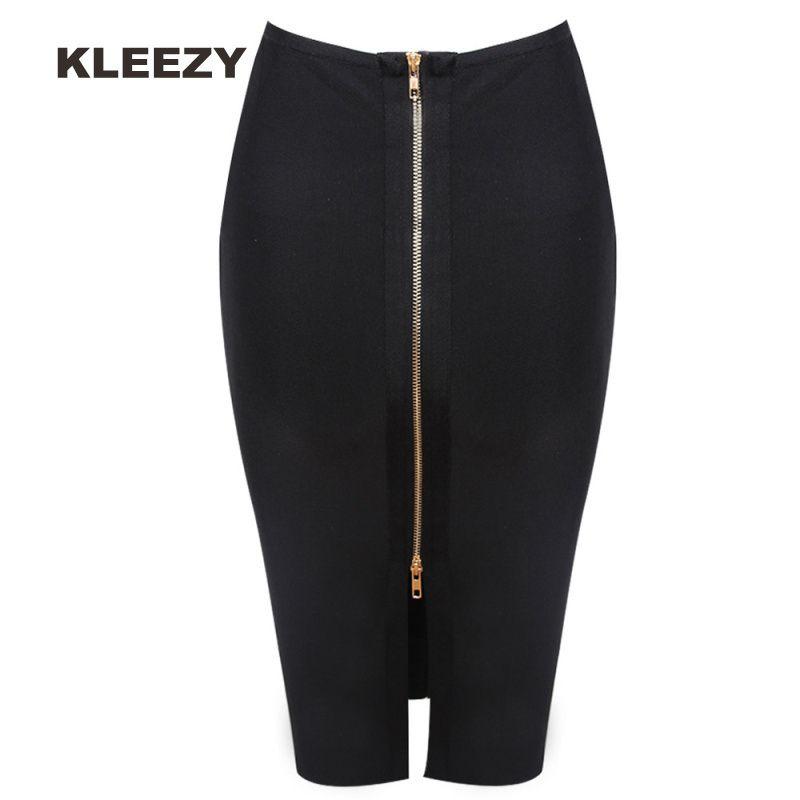 Kleezy Новое прибытие Юбка-карандаш Новая повязка-юбка для женщин Колено Черная юбка H2383 Y19043002