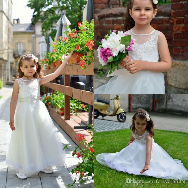 Sequins Applique Flower Girls Dresses Sheer Jewel Neck Sleeveless Girls Pageant Dresses Ankle Length Birthday Gowns