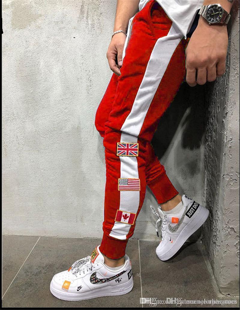 Модные мужские панельные брюки карандаш мужские беговые брюки с флагом лоскутное осенние мужские регулярные спортивные брюки