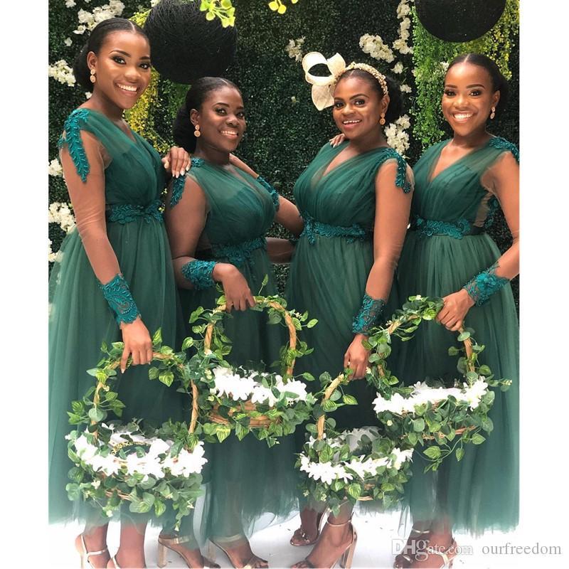 2020 Arabe vert foncé Une ligne Robes de bal à manches longues Appliqued Teal Longueur formelle Soirée Vestidos De Festa Robe spéciale de demoiselle d'honneur