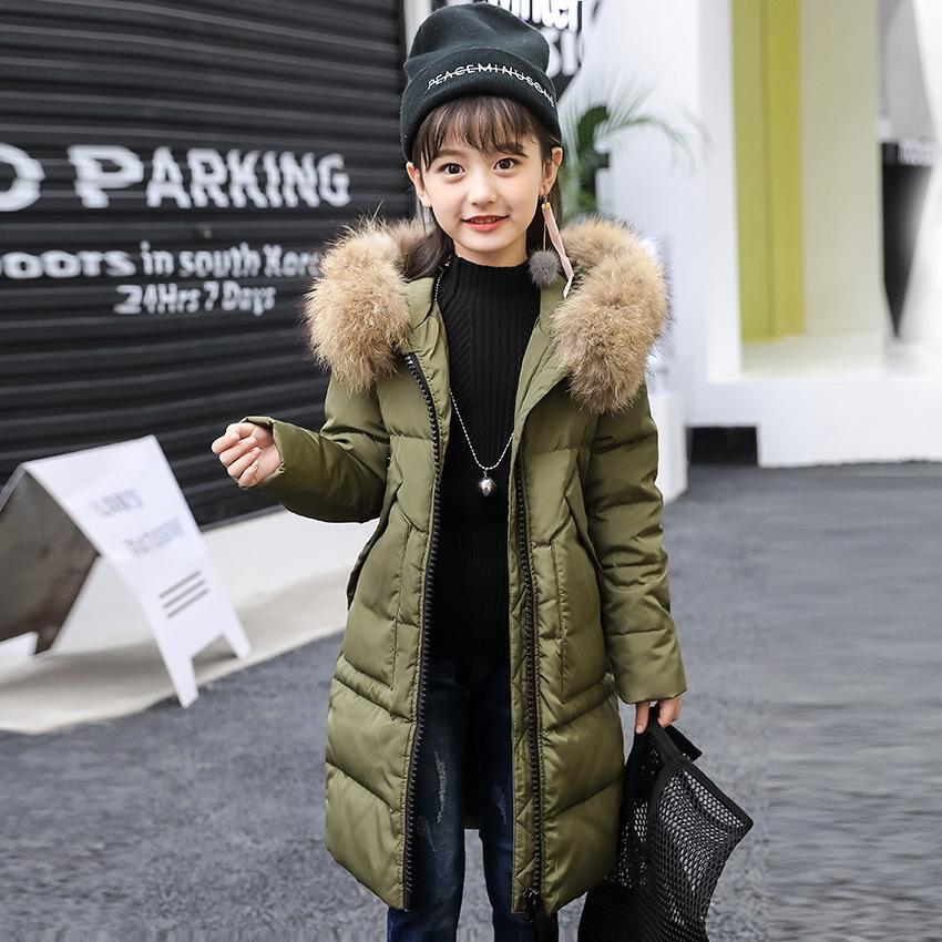 Escudo niñas invierno largo y grueso caliente abajo chaqueta para niñas de 5-14 años de cabritos Parka chicas adolescentes ropa de abrigo de invierno