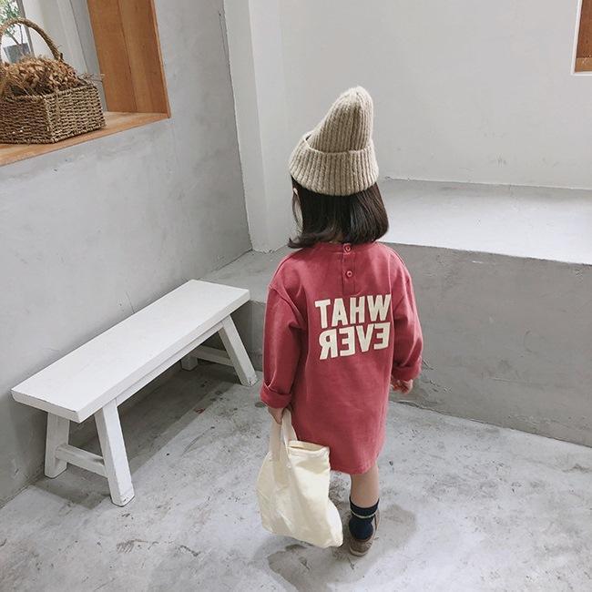 Sonbahar kore tarzı kız bebek uzun kollu pamuklu harfler 2-6 yaş basit gevşek gündelik Tişörtlü elbise elbise elbiseler baskılı